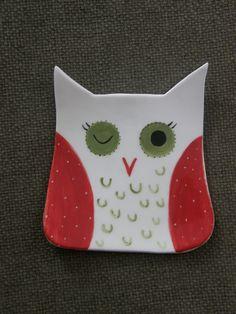 Ceramic Owl Bowl, Spoon Holder
