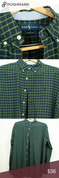 d9e50fa18 Ralph Lauren Mens Plaid Shirt size XL Forest green and navy blue with  yellow plaid mens