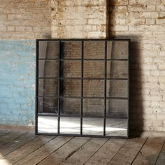Looking like its been taken straight out of the old frame of an industrial warehouse, this fabulous metal window mirror is just such an amazing-looking piece and would look incredible on any bare wall. Warehouse Windows, Black Windows, Window Frame Mirror, Window Mirror, Metal Window Frames, Mirrored Bedroom Furniture, Industrial Windows, Black Mirror Frame, Industrial Mirrors