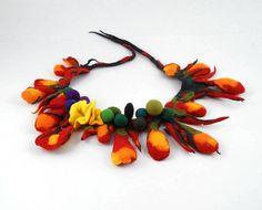 Felted Collar nuno felt Necklace flower art jewerly nunofelt Nuno felt tangerine orange ruby collar silk fairy floral fantasy Fiber Art boho