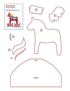free Dala horse pattern - Bethany wants to make these for Tree decorations. Maybe we could do felt and stuff? Norwegian Christmas, Scandinavian Christmas, Felt Patterns, Craft Patterns, Unicorn Diy, Felt Crafts, Paper Crafts, Horse Pattern, Horse Crafts