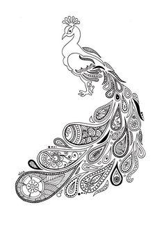 Peacock with paisley plumage – Alice Gerfault, drawings Doodle Art Drawing, Zentangle Drawings, Art Drawings, Peacock Drawing, Peacock Art, Madhubani Art, Madhubani Painting, Mandala Art Lesson, Doodle Art Designs