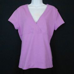 This cotton stretch top features a crossover surplice v-neckline, Empire bodice, and short sleeves!  #Sonoma Top www.bevsthisnthatshop.com