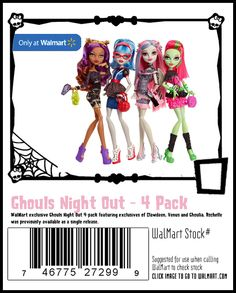 Exclusive 4 pack featuring 3 unreleased dolls. Ghoulia, Clawdeen and Venus in party atire and Rochelle who was previously released by herself. Keep in mind sets tend to not have all the accessories that the single releases do so the set Rochelle may not come with her compact.