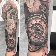 pocket watch tattoo46