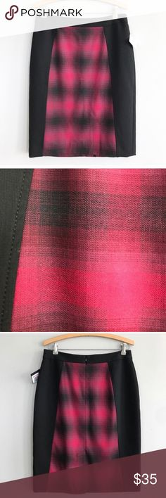 """Nordstrom Halogen lined buffalo plaid pencil skirt Nordstrom Halogen lined buffalo plaid pencil skirt, red plaid with flattering black panels on the sides, fully lined, zip closure at the back  Waist 15.5"""" Hips 19.5"""" Length 23"""" Halogen Skirts Pencil"""