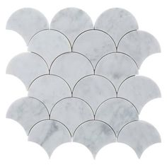 Carrara Fan Marble Mosaic - 12in. x 12in. - 100245554 | Floor and Decor