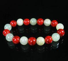 Bicolor LITHG COLOR RED Chinese Jade Gem Buddhist Prayer Mala Bead Bracelet WZ71