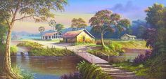 Quadro em acrílico sobre tela  Tamanho 60 x 120 cm  Aceitamos encomendas House Landscape, Landscape Art, Landscape Paintings, Country Landscaping, Modern Landscaping, Landscape Drawings, Landscape Pictures, South American Art, Nature Drawing