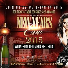 "SOFITEL LOS ANGELES – The Sofitel Luxury Hotel Presents ""LEGEND 2015"". Celebrate this New Years Eve 2015 inside Beverly Hill's award-winning Sofitel Luxury Hotel directly across the street from the Beverly Center. Brought to you by the top Hollywood Promoters. Tickets starts at $60 and Tables starts at $690. http://www.evitaparties.com/sofitel-los-angeles-new-years-eve-2015"