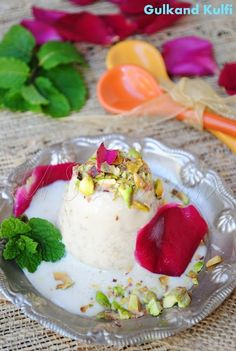 Indian Rose Ice Cream | Indian Ice Cream made with Pistachios and Rose petal jam