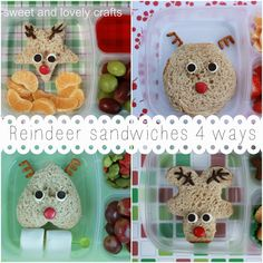 sweet and lovely crafts: reindeer sandwiches 4 ways