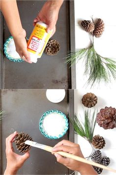 DIY Snow Covered Pine Cones & Branches Ways!} 3 minute gorgeous DIY snow covered pine cones & branches in 3 ways! Easy pinecone craft for winter weddings, farmhouse, Thanksgiving, Christmas decorations! - A Piece of minute gorgeous DIY snow covered p. Pine Cone Christmas Decorations, Christmas Pine Cones, Christmas Ornament Crafts, Christmas Centerpieces, Christmas Diy, Christmas Crafts, Primitive Christmas, Country Christmas, Thanksgiving Decorations