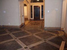 Concrete stained floor. I love this!