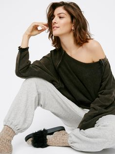 East Meets West Pullover   Super comfy pullover pieced with cozy fleece inside and out. Oversized slouchy fit with dolman style sleeves and raw, unfinished trim.