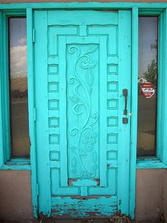 Bright turquoise door, Albuquerque by MadAboutCows, via Flickr~