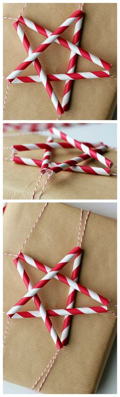 How To Make Paper Straw Stars ~ These paper straw stars look super cute atop a package, but they're just as sweet hanging from a Christmas tree, garland or anything else that needs a holiday touch.
