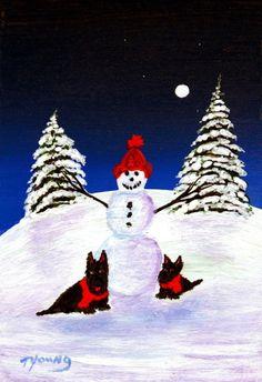 Scottie Terrier Winter Folk art print of Todd by ToddYoungArt