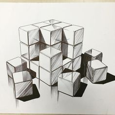 Light & shadow on cubes . Shadow Drawing, 3d Art Drawing, Geometric Drawing, Object Drawing, Geometric Art, 3d Hand Drawings, Free Hand Drawing, Pencil Art Drawings, Art Drawings Sketches