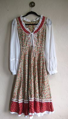GUNNE SAX Never Worn 70s Dress 2-4 XS S Bohemian Festival Floral Hippie Peasant