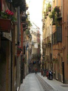 the smallest roads in the oldest part of Cagliari.. il Castello! Sardinia.