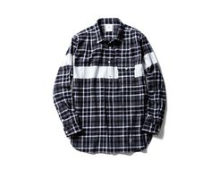 uniform experiment   PRODUCT   WHITE LINE FLANNEL CHECK REGULAR COLLAR PULL OVER LONG SHIRT