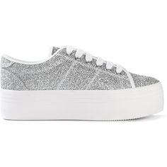 Jeffrey Campbell glitter platform sneakers (1.850 ARS) ❤ liked on Polyvore featuring shoes, sneakers, metallic, metallic shoes, glitter sneakers, white trainers, platform trainers and white shoes