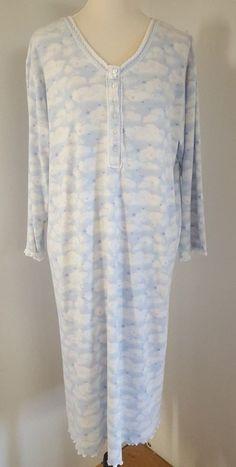 99290f4d61 Sleep Angels Gown Ladies Size L Blue Stars Sleepwear Cotton Flannel Lace  153  EarthAngels