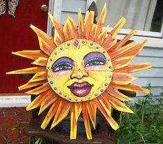 """Jewel Sun  made entirely from old Bushel Crab Baskets from the Eastern Shore  31 """" across  by Dawn Tarr DAWN TARR ART"""