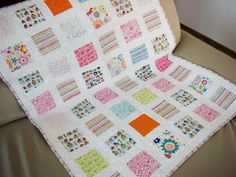 This quilt will be made to order, so please allow 2-5 weeks to be ready to ship after purchase.  This modern baby quilt is good for both boy and girl. Bright and at the same time gentle color combination will look great in the kids room.  This size is suitable for baby or toddler. The quilt is perfect as a baby shower gift, nursery decor, for decorating baby room, as crib quilt, for using in a buggy or as a play mat.  For top will be used quality designer cotton fabrics (Snapshots collection…
