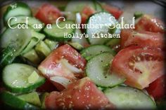 Cool as a Cucumber Salad  One of my favorite salads!! SO delicious! Add some Feta and black olives YUMMMMMMMMM   Follow this pin to see the full recipe!