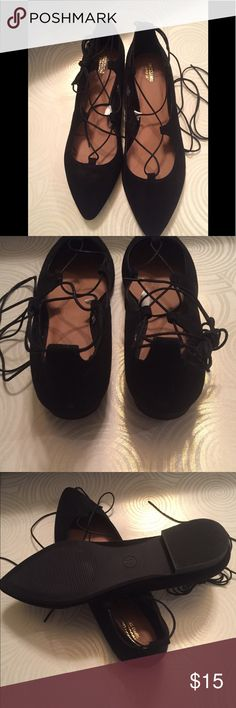 Cute lace Up Flats These shoes are soft to the touch and perfect with your jeans or a cute lil' dress however you choose to wear then they would be a great addition to your closet! Shoes Flats & Loafers