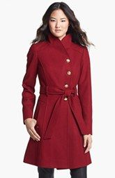 GUESS Belted Asymmetrical Wool Blend Coat
