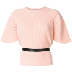 Red Valentino belted shortsleeved jumper (28.455 RUB) ❤ liked on Polyvore featuring tops, sweaters, belted top, red valentino, jumpers sweaters, short sleeve jumper and pink sweater