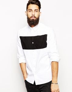 ASOS+Shirt+In+Long+Sleeve+With+Ripstop+Panel