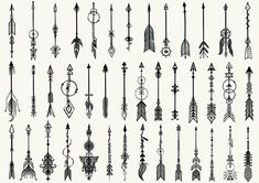 Big set of hand drawn tribal arrows for design element and tattoo - Stock Vector.Big set of hand drawn tribal arrows for design element and tattoo - Stock Vector - Buy this vector graphic from Shutterstock and you will find more images. Feather Tattoos, Body Art Tattoos, New Tattoos, Tattoos For Guys, Cool Tattoos, White Tattoos, Ankle Tattoos, Tatoos, Small Tattoos