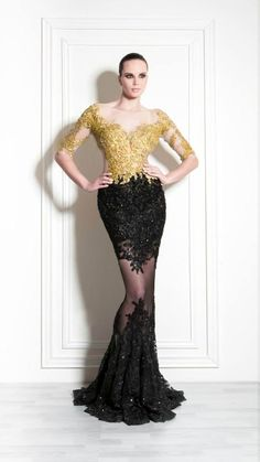 Gold black embroidery couture gown