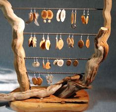 Handmade wood earrings, antler earrings and some with feathers - click here to see larger view