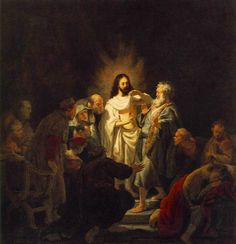 """Rembrandt, """"The Incredulity of St Thomas"""" 1634, Oil on wood, 53 cm x 51 cm, Pushkin Museum, Moscow"""