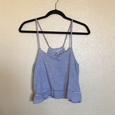 Zara Blue and White Stripped Crop Top Zara Trafaluc navy blue and white stripped crop top. Soft and looks great with shorts. Nonadjustable straps. Size S. Fits like an XS. Zara Tops Crop Tops
