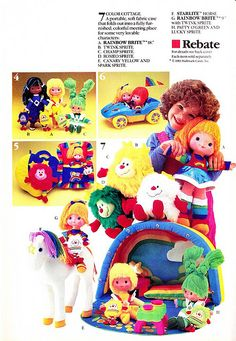 Rainbow Brite (MATTEL) 1984 - 1986 80s Kids, Kids Tv, Retro Toys, Vintage Toys, Dolls From The 80s, Jem Et Les Hologrammes, Toy Labels, Toy Catalogs, Toy Display