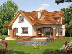 O casă de vis cu mansardă ideală unei familii cu 3 membri Building A Porch, Home Building Design, Home Design Plans, Building A House, Modern Bungalow House, Modern House Plans, Modern House Design, House Design Pictures, Beautiful House Plans