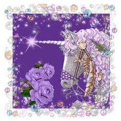 """Purple Unicorn"" by jeannierose ❤ liked on Polyvore featuring art"