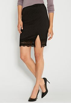 textured pencil skirt with crochet (original price, $34) available at #Maurices