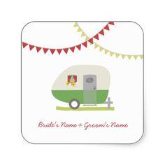 Green Retro Trailer Wedding Sticker