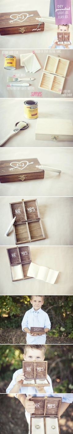 What a great idea for a ring bearer, especially for a rustic or country styled wedding - this picture links to a tutorial which looks easy to follow (as long as you can find a suitable box but I would imagine you could easily adapt something found in a hobby store or online if you couldn't find the perfect thing). Cute as a button...