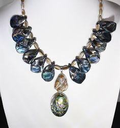 "17/"" Chain Octopus Charm Pendant Fashionable Necklace Abalone Paua Shell"