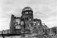 The destroyed city of Hiroshima few months after the U.S. A-bomb explosion of 6th August 1945.  (Photographed by Shigeo Hayashi, Provided by Hiroshima peace museum)