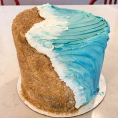 Ocean Birthday Cakes, Ocean Cakes, Themed Birthday Cakes, Art Birthday Cake, Birthday Boys, Beach Themed Cakes, Beach Cakes, Wave Cake, Hawaii Cake