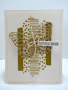 Stampin' Up! hand crafted card from ARTfelt Impressions: Gold Butterfly . panel of rough torn washi tape in gold patterns . Paper Cards, Diy Cards, Washi Tape Cards, Masking Tape, Duct Tape, Tape Crafts, Butterfly Cards, Creative Cards, Greeting Cards Handmade
